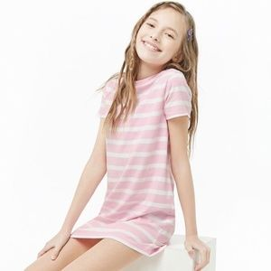 Forever 21 pink and white striped t-shirt dress